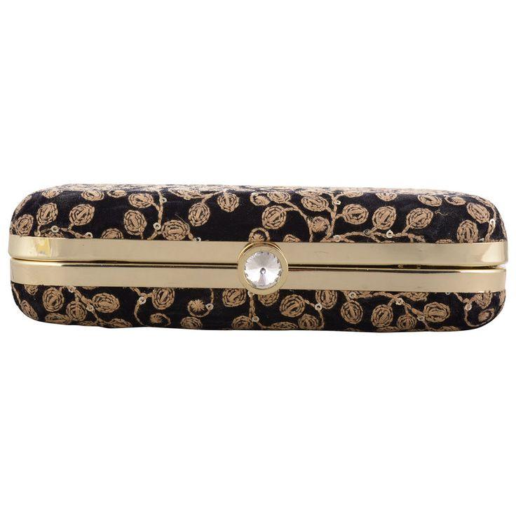 Hand Made Black Velvet Women Girls Party Wedding Evening Clutch Box Wallet Sale #Handmade #Clutch
