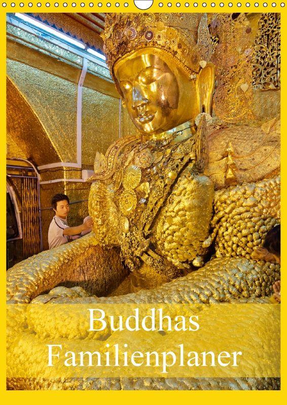Buddhas Familienplaner - CALVENDODer Buddhismus ist in der burmesischen Bevölkerung Myanmars tief verankert. Überall im Land findet man verschiedenartige kleine und große Buddha-Statuen, die zum Teil hunderte Jahre alt und manchmal so mit Blattgold bedeckt sind das man ihre Form nicht mehr erkennt. In diesem Familienplaner finden Sie zum einen Photoaufnahmen von einigen der wichtigsten Buddhas von Myanmar zum anderen aber auch Aufnahmen die die Religiosität der Burmesen zeigen.