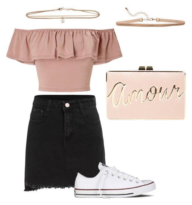 """⚪️ Pink Think"" by oliwiajankowska on Polyvore featuring moda, Miss Selfridge, BCBGMAXAZRIA i Converse"