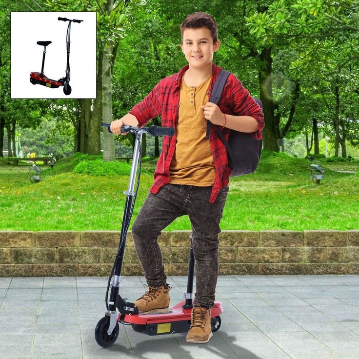Portable Lightweight Electric Scooter With Seat For Children Solid Red Colored