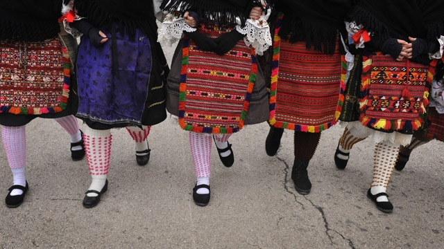 traditional Hungarian... leg gear... I don't know what these are called just that they are worn by ethnic Sokac women for Busho festival.