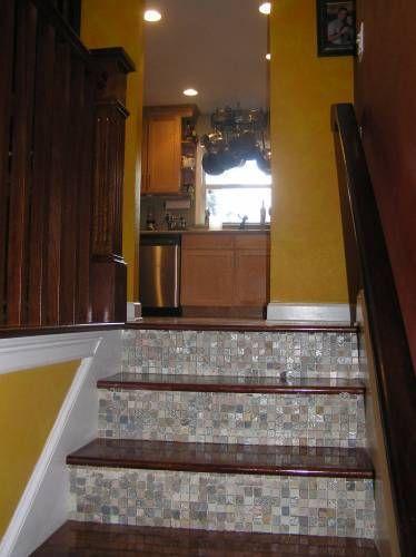 Great Looking DIY Tiled Staircase Kickboard