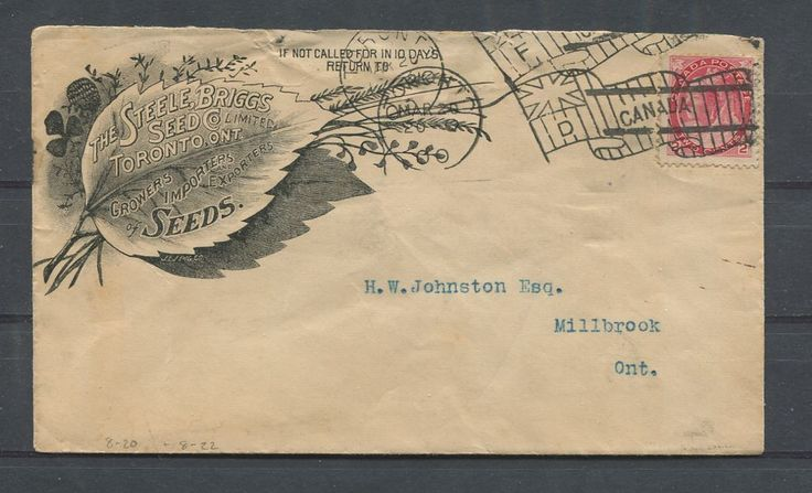 A business envelope for the Steele Briggs Seed company, which was founded in the 1870's. The company had a large warehouse located at 49 Spadina ave. In 1961 the company was bought out by Rennie's seeds.