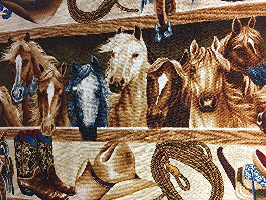 """Amazon.com : Western Horses Barn Saddle Rope Saddle Cotton Window Curtain Valance handmade 42""""W x 15""""L FABRIC : Everything Else"""