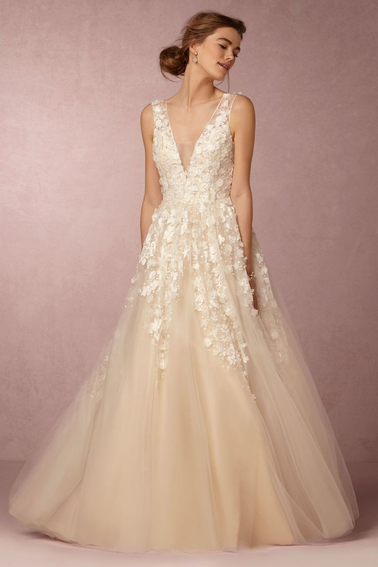 Lace Tulle Wedding Dress With 3d Floral Appliqu Designed By