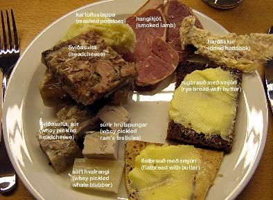 Iceland: Typical Icelandic food. Not for the faint of heart!