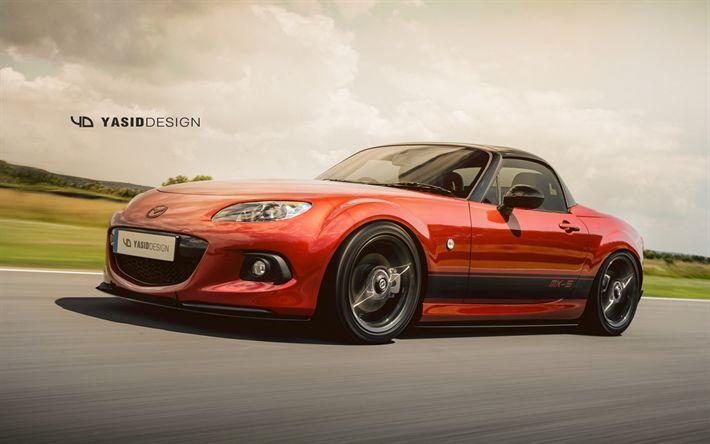 Download imagens Mazda MX-5, estrada, Mazda Miata, roadster, sportcars, carros japoneses, Mazda