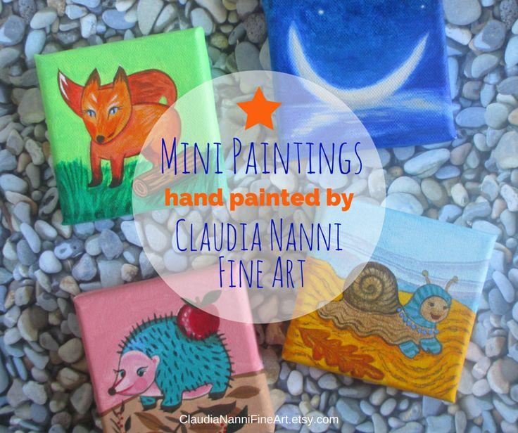 Amazing nursery decor! Original Mini Paintings available at my Etsy Shop #ClaudiaNanniFineArt #romantic #art #homedecor #wallart #canvas #nursery
