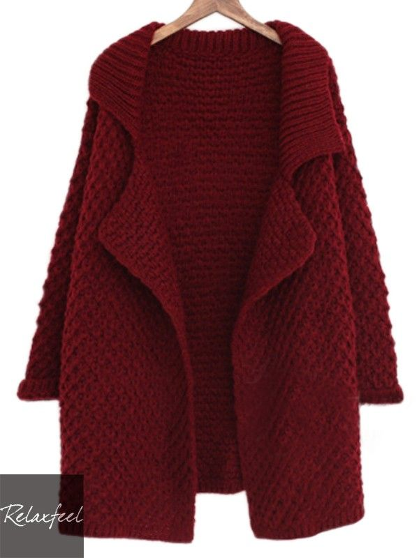 Relaxfeel Women's Pure Color Big Lapel Long Sleeve Knitted Sweater Coat - New In