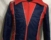 30% korting op verkoop Vintage 70s Ski Puffy Blue Jacket van de jaren 1970-jaren 70-jas - 80s Jack - vintage jas - ski - skiën - snowboarden - hipster (Sma