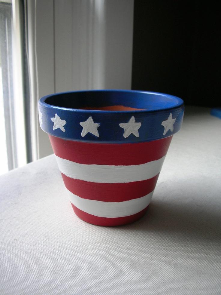 4 Handpainted Flower Pot Americana by pinkishdaisy on Etsy, $15.00