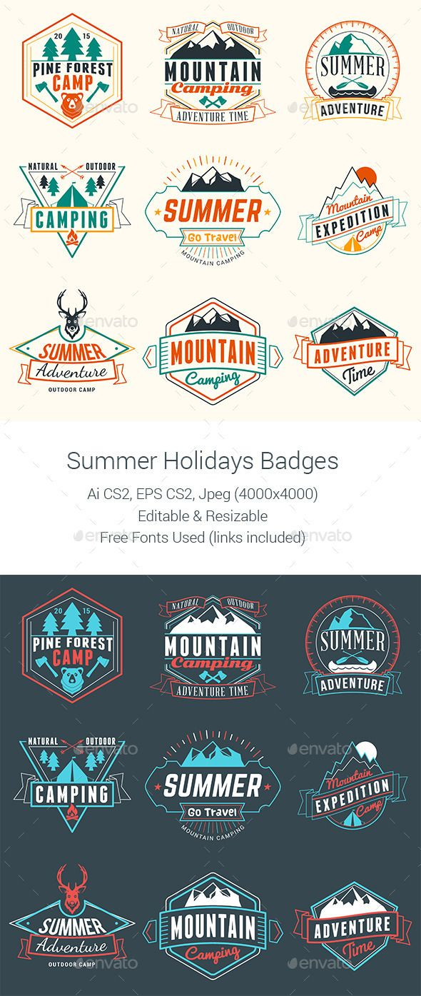 Summer Camping Badges - Badges & Stickers Web Elements