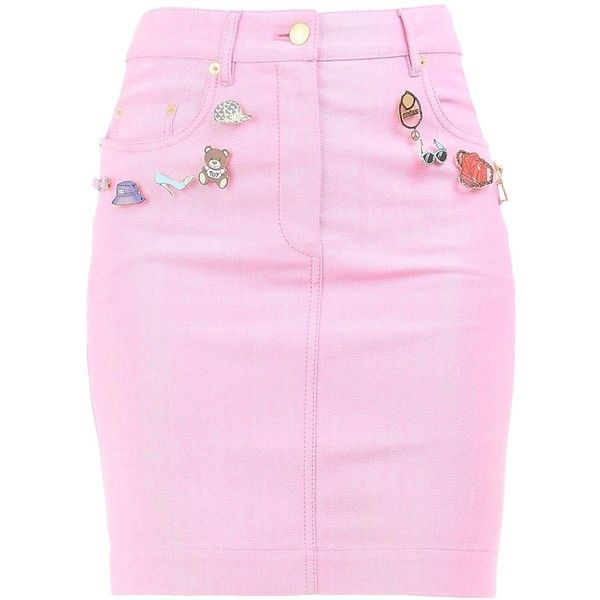 Moschino Knee Length Skirt (£290) ❤ liked on Polyvore featuring skirts, faldas, bottoms, moschino, pink, pink skirt, cotton knee length skirt, zipper skirt and knee length skirts