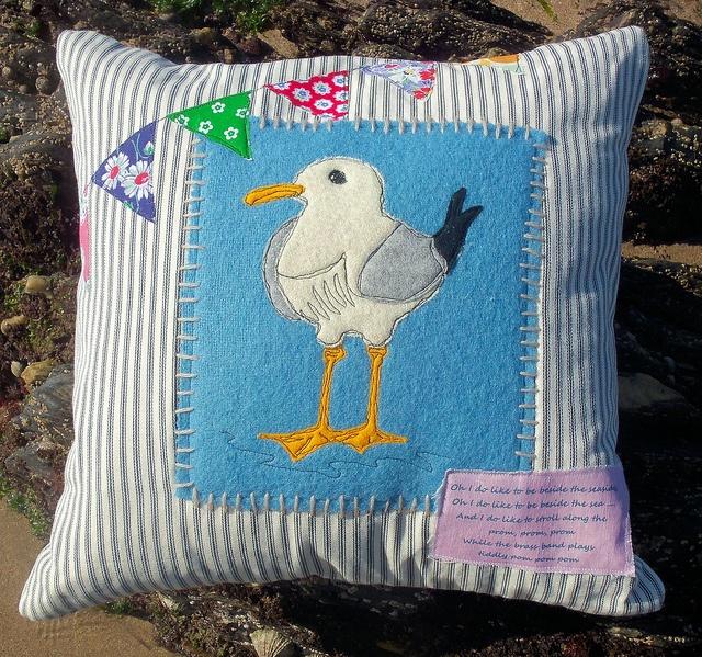 Seagull Cushion by Bustle & Sew, via Flickr