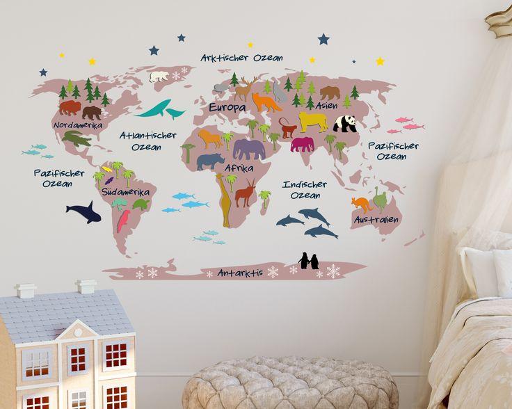 Weltkarte f r kleine entdecker im kinderzimmer gesehen for Pinterest weltkarte
