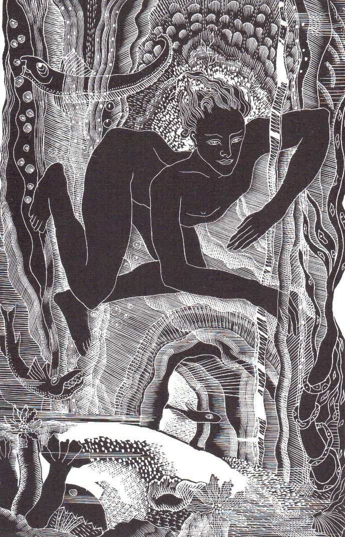 "Lettice Sandford (1902-1993) ""Leander under water"" was cut for ""hero & Leander"" published by The Golden Hours Press in 1933. This wood engraving was printed from the original block by Simon Lawrence at his Fleece Press. £35.00"