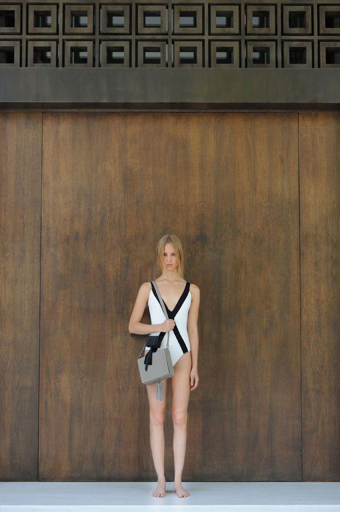 AMORGOS white swimsuit + ATTIKI large tassel bag #zeusndione