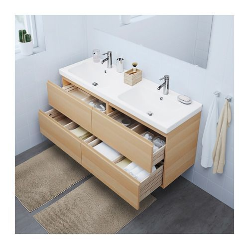 GODMORGON / ODENSVIK Sink cabinet with 4 drawers, white stained oak effect white stained oak effect 55 1/8x19 1/4x25 1/4