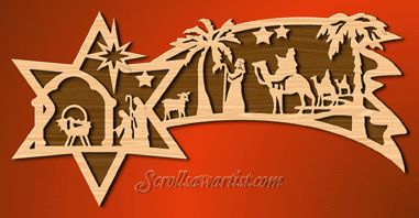 Scroll Saw Patterns :: Holidays :: Christmas :: Plaques & other projects :: Nativity star #1 -