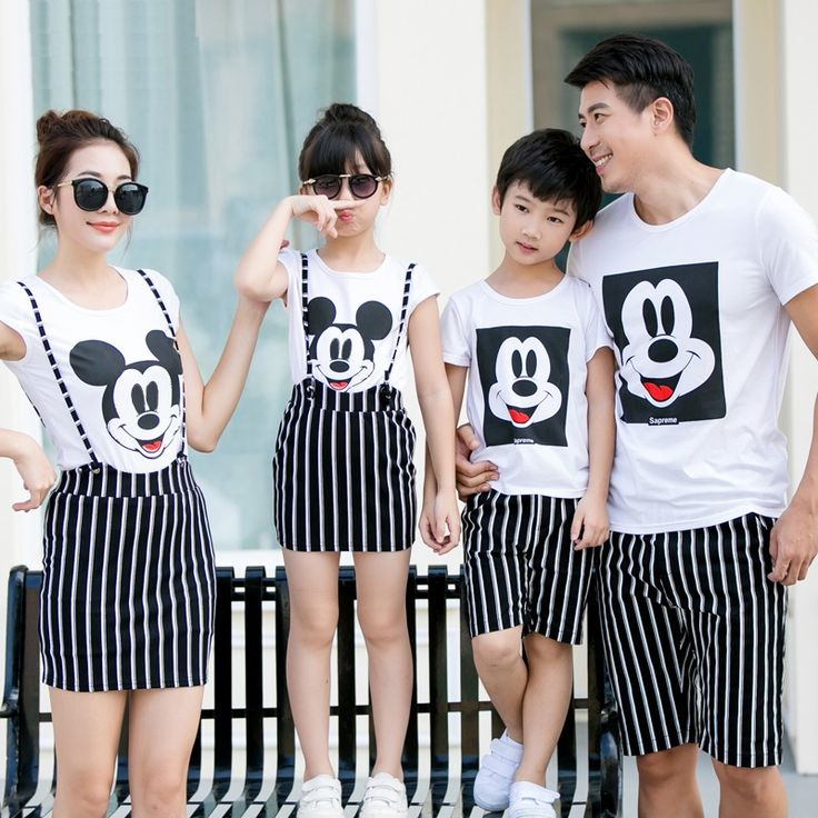 Cartoon Tops+Striped Bottom Family Clothing Mother Daughter 2-pieces Dresses Father and Son Clothes Family Clothing Sets TL11