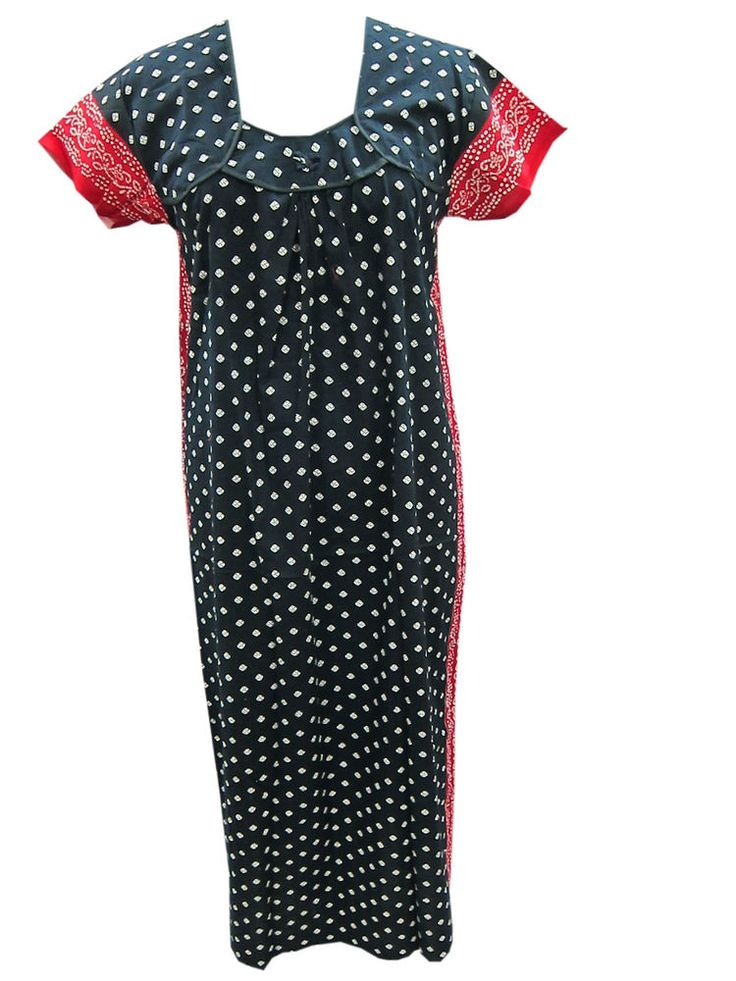 Designer Cotton Kaftans Evening Dress Black Red print Summer Cool Maxi Dress