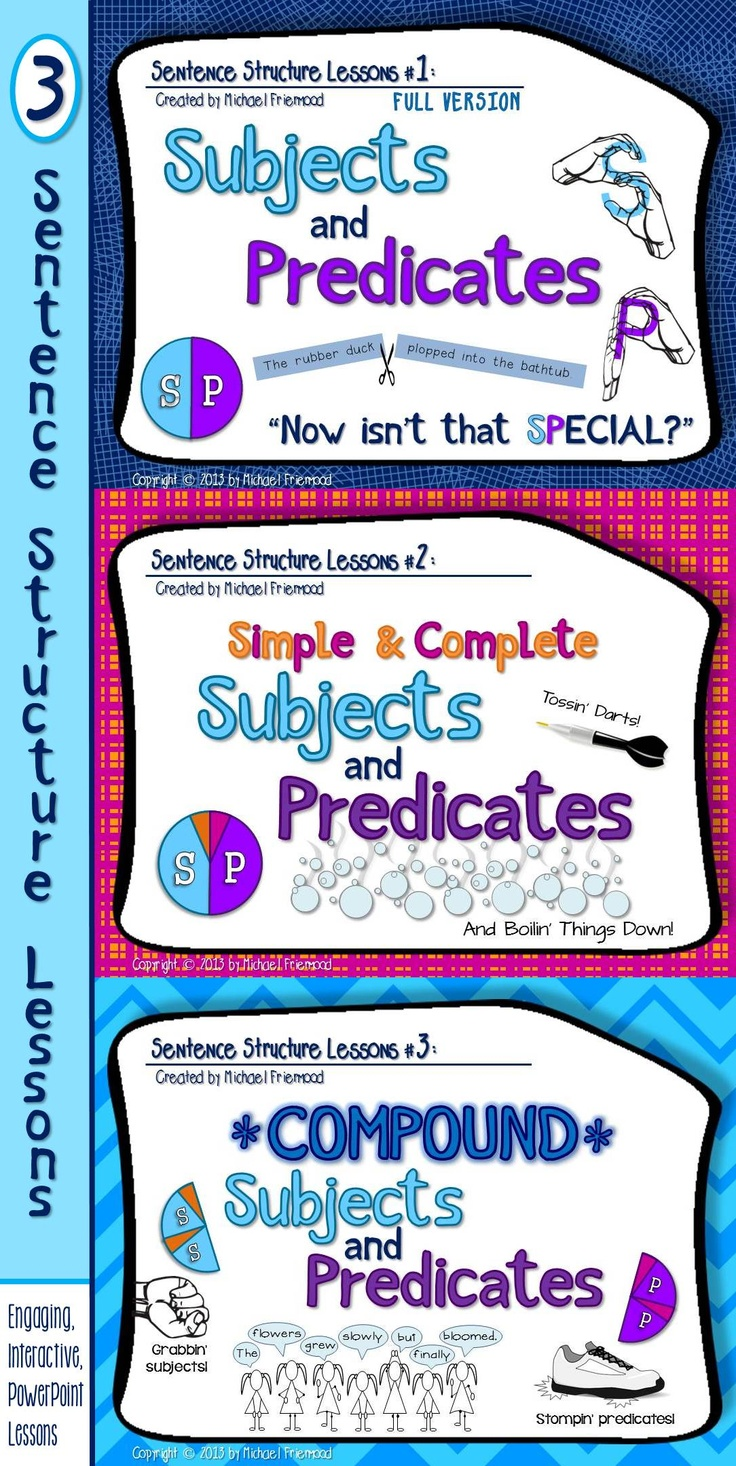 3 sentence structure lessons... engaging, interactive, PowerPoint-based.