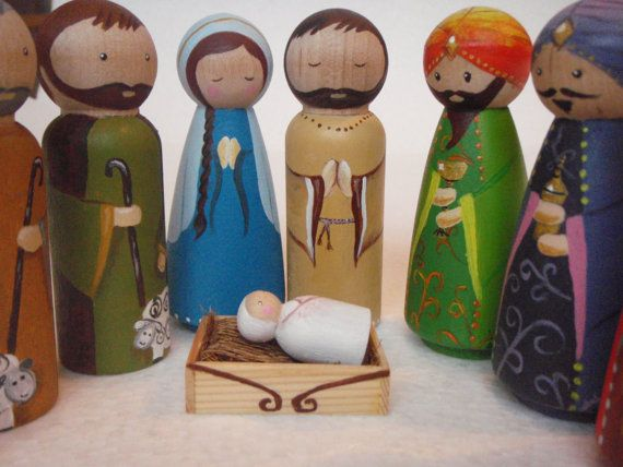 Hand painted wooden peg doll nativity. by MaketheScene on Etsy