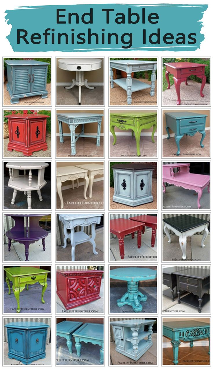End tables are a great way to introduce the upstyled look up painted, glazed and distressed furniture into your home. Whether your choice of paint color is bold or neutral, end tables provide a unique pop of character to accent a living space. From Facelift Furniture.