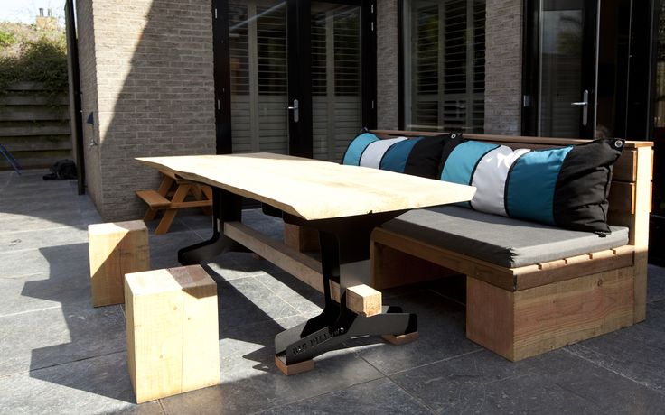 Massif Wood Couch en Long Table (outdoor lounge) by Big Pillows