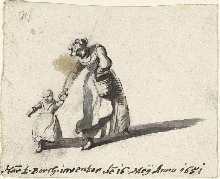 Harmen ter Borch | Vrouw bukkend om de hand van een kind te pakken, Harmen ter Borch, 1651 |