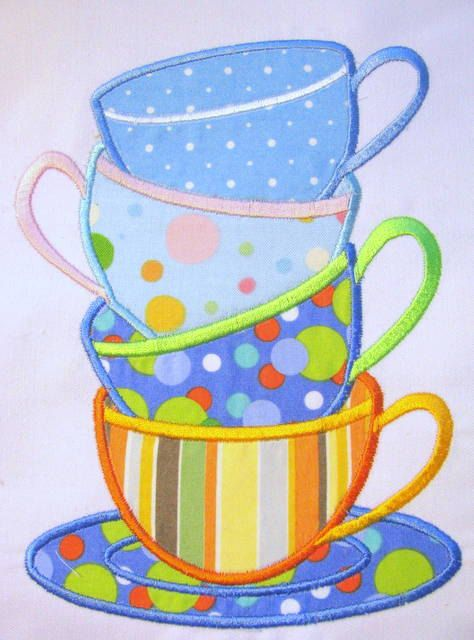 Tea Time 01 Machine Applique Embroidery Designs  5x7 by KCDezigns, $3.50