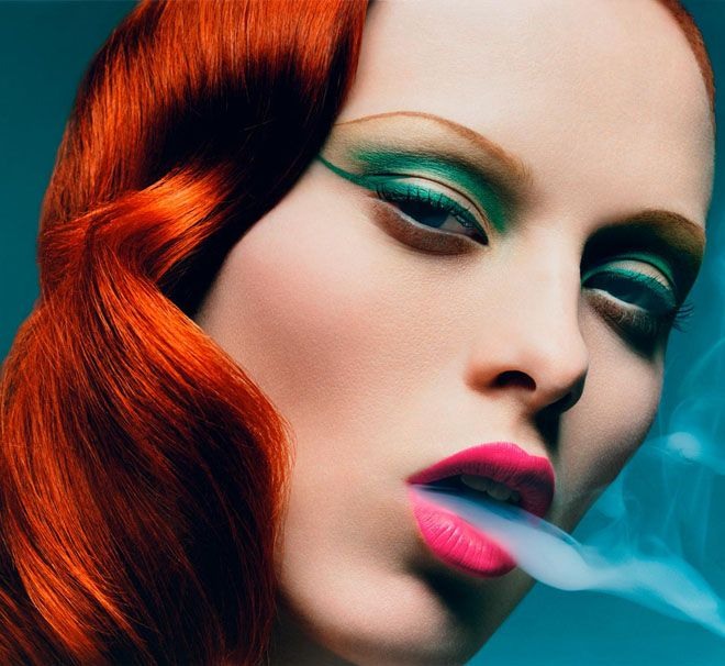 Hot pink lips & smokeGreen Eyeshadow, Karen O'Neil, Fashion, Red Hair, Makeup, Pink Lips, Karen Elson, Redhair,  Lips Rouge