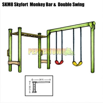 Climbing Accessories - Monkey Bars and Monkey Bar Kits - Skyfort Monkey Bar and Double Swing - by PEPPERTOWN online store
