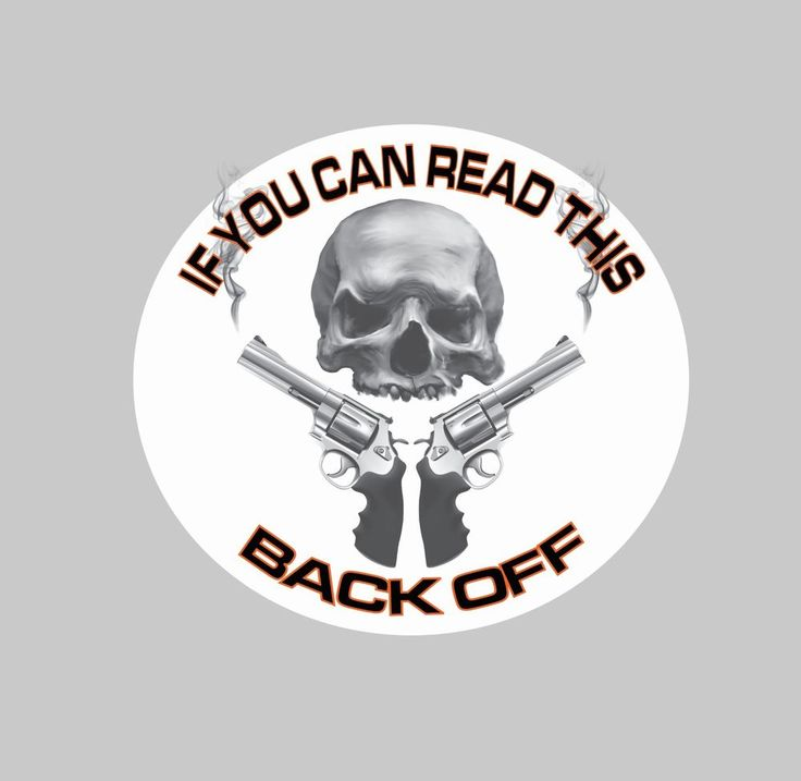 Back off skull with guns graphic decal 5 5 trucks cars vans hotrod biker