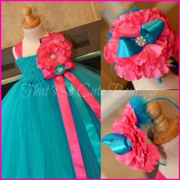Turquoise And Fuchsia Flower Tutu Dress Hot Pink Teal Blue For Wedding Pageants