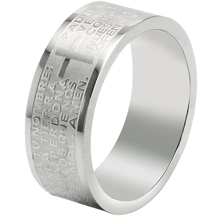 BOHG Jewelry Mens Womens Stainless Steel English Lord's Prayer Cross Ring Couples Wedding Bands Silver ** Learn more by visiting the image link.