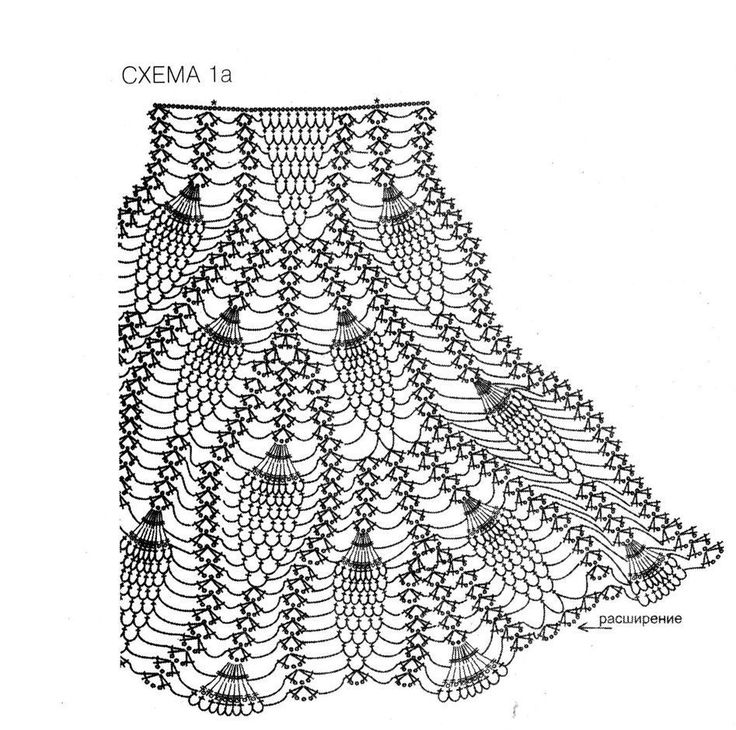 Вязание юбки узор ананас крючком