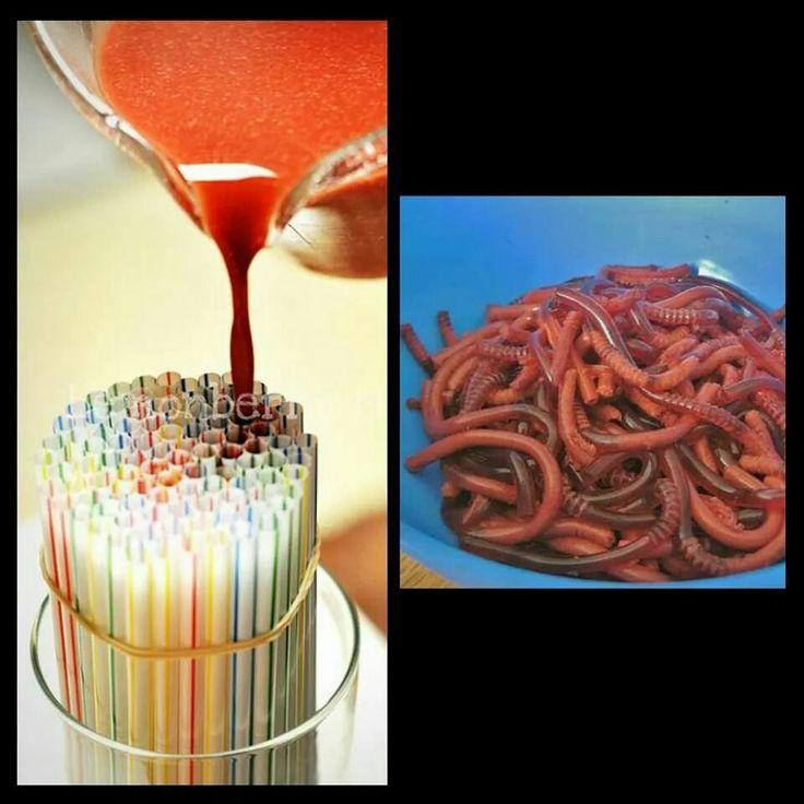 Jello straw worms