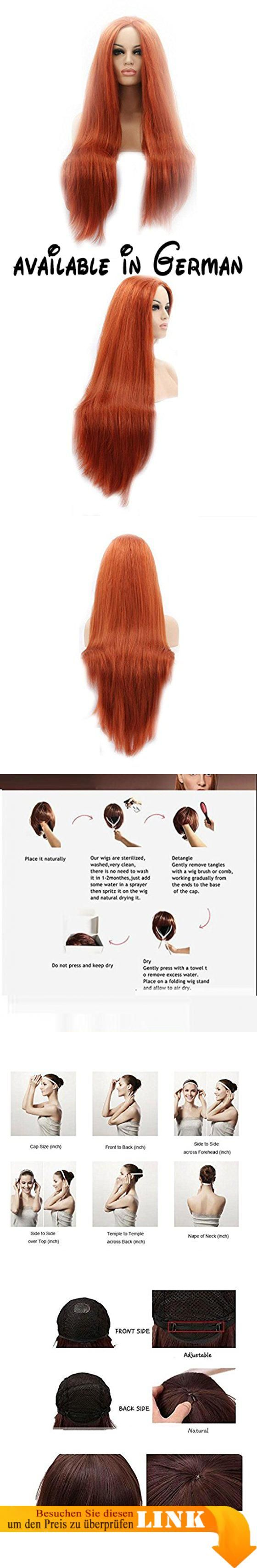 JJH-ENTER Perücke Europa und die Vereinigten Staaten Cosplay lang Straight orange rot Front Lace High Temperature Wire Perücke Head Cover. einzigartige und stilvolle Frisur Perücke aussieht wie ihr echtes Haar.. Die Farbe erhellt Ihre Haut und macht Sie modisch und charmant.. Es ist eine ausgezeichnete Toupet für Männer, fast kein vergießen. Lange dauern.. 100% menschliches Haar-System, weich genug, sieht natürlich, leichte Welle Toupet für Männer, natürlich aussehende,