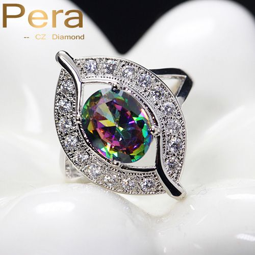Sparkling Rainbow Fire Mystic Created Topaz Crystal Stone Pave Fashion Silver Plated Rings Women Jewelry For Wedding Party R001