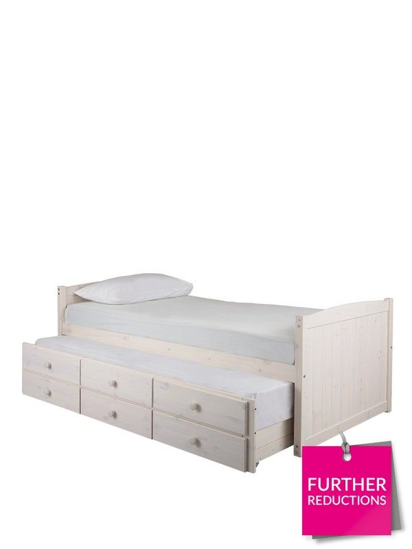 Kidspace Georgie Single Kids Storage Bed + Pull-out Guest Bed; plus optional home assembly service* This versatile children's bed is great for getting clutter nutters more organised!Available in two finishes, it has built-in headboard and footboard. The under-bed drawer is a pull-out guest bed - ideal for sleepovers. (Pine image shown is for colour purposes only).Not only this, but the pull-out guest bed itself contains a set of storage drawers underneath, which can be used to keep everyt...