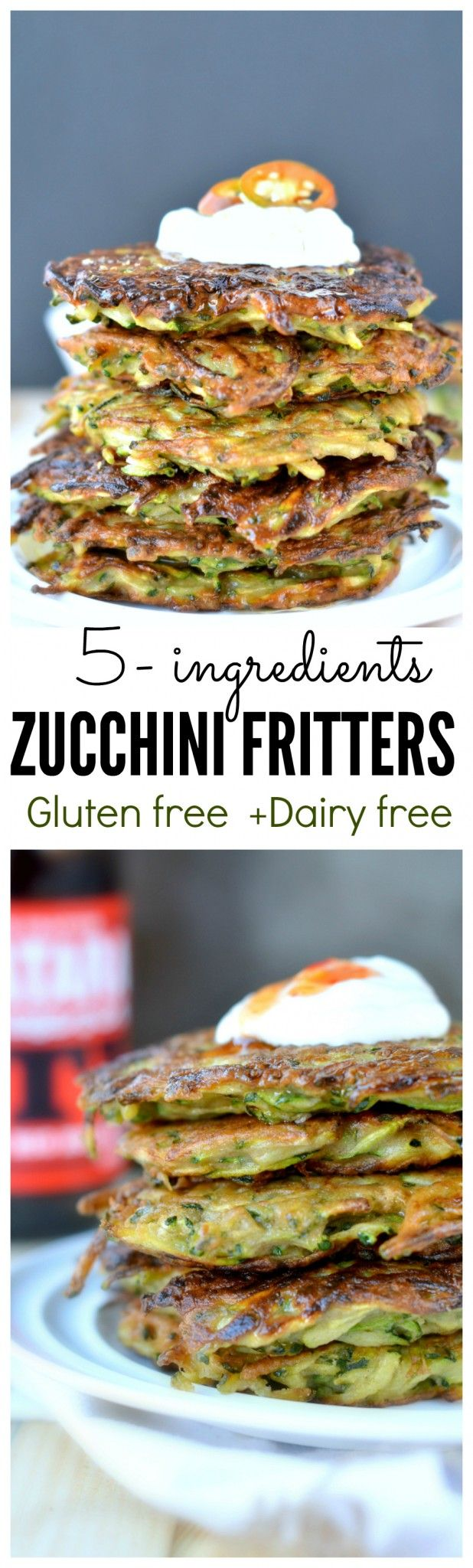 5-ingredients Gluten Free Zucchini Fritters, super crispy, can be used as burger buns too or as a small snack in kids lunch box. Dairy free fritters too.