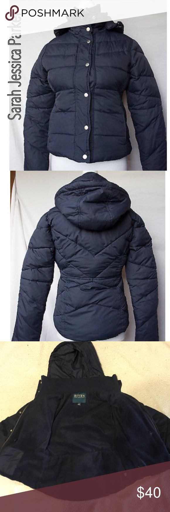 """Sarah Jessica Parker's puffer coat """"Bitten"""" This jacket is perfect for a cold winter! Has a detachable hood, Interior lining  has zipper closure, and exterior buttons down.  To lined exterior and one interior pocket. 25% down, 25% feathers, 50% polyfill Sarah Jessica Parker Jackets & Coats Puffers"""