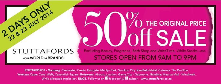 50% Off SALE now on at @stuttafords_za stores...22-23 July only! Sale on EVERYTHING except Cosmetics, Fragrances, WriteTime & Bath Shop. While stocks last. What are you waiting for?