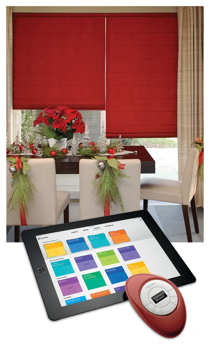 With PowerView™ Motorization from Hunter Douglas, control shades intelligently to design the perfect Holiday mood.  Hunter Douglas Design Studio™ Roman Shades #HolidayEntertainingAndDecor #MotorizedWindowTreatments