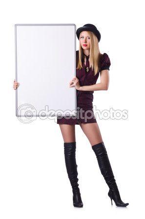 Chica joven en botas de cuero y sombrero — Imagen de stock #77321024