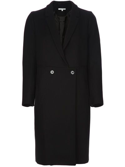 Black wool double breasted coat from Carven featuring a button fastening, four front jet pockets, long sleeved with zip fastened cuffs and bacl split vent on hem. Fully lined