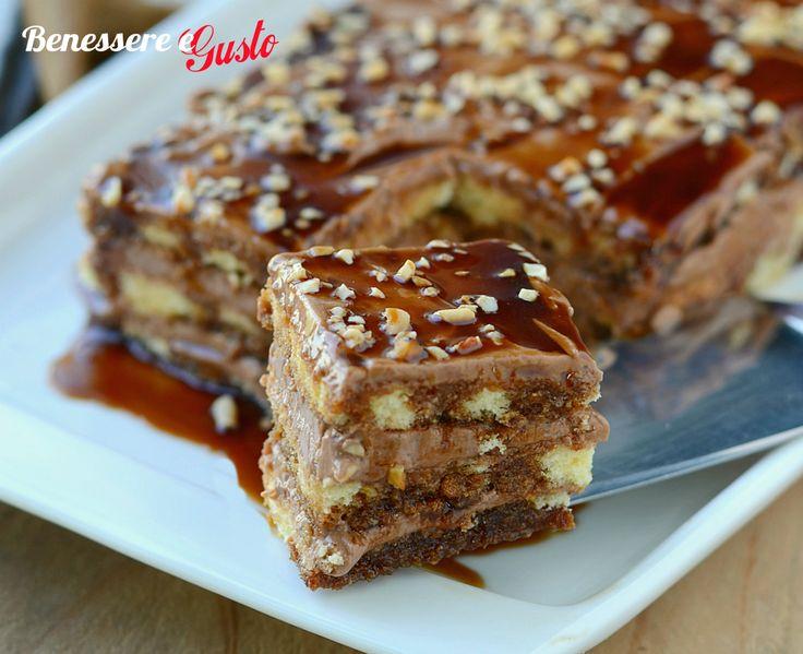 Nutella cake al Caramello, dessert con tre strati di pasta biscotto, ricetta facile, con mousse alla Nutella, caramello e granella di nocciole