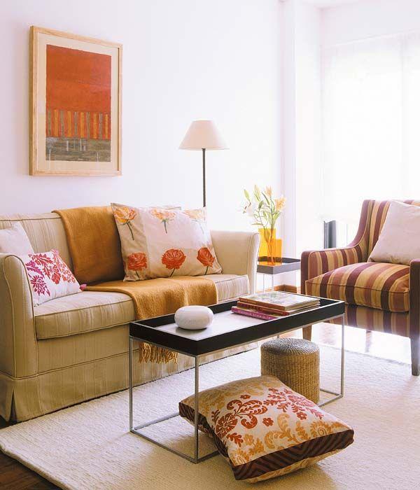 Sala De Estar Laranja ~  parede branca + quadro laranja  Decoração de ambientes  Pinterest