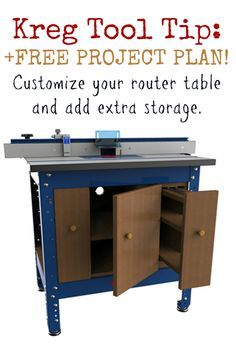Tuesday Tool Tip + FREE Project Plan: Customize & add extra storage to your Kreg Router Table. | Get more from your Kreg Router Table. You can customize it, add extra storage, and more when you build a Router Table Cabinet. Grab your free Kreg project plan here: http://www.kregtool.com/files/projectplans/routertablecabinet/routertablecabinet.asp. Follow along with Thom; he shares photos and videos of his Router Table Cabinet build here: http://lumberjocks.com/projects/92635.